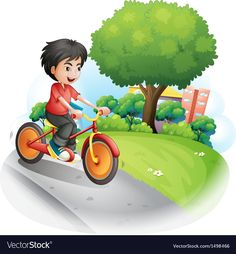 A boy with a red shirt biking Royalty Free Vector Image