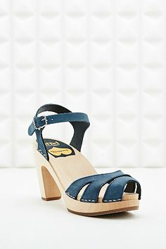 Swedish Hasbeens Suzanne Leather and Wood Sandals in Blue