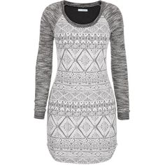 maurices Marled Sweatshirt Dress With Ethnic Pattern ($35) ❤ liked on Polyvore featuring dresses, tops, shirts, vestidos, grey, grey dress, long gray dress, scoop neck dress, long sweatshirt dress and long print dress