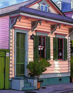 131 French Quarter Pink House Painting by John Boles New Orleans Art, New Orleans Homes, Watercolor Sketch, Watercolor Paintings, Cabana, Gouache, Louisiana Art, Art Folder, House Drawing