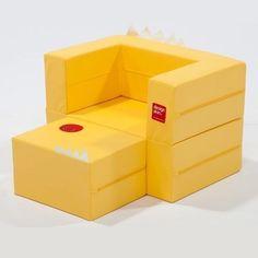 Kids Folding Block Yellow Sofa Daughter Birthday Gift Mini Couch Furniture New #DESIGNSKIN