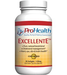 ExcellentE (Vitamin E Tocotrienol) (Vitamin E Supplment). Pure, Natural Delta Tocotrienol. Cholesterol management. Cellular health. Healthy inflammation response. Available at ProHealth.com ($21.49) #ProHealth