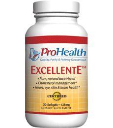 ExcellentE (Vitamin E Tocotrienol) (Vitamin E Supplment). Pure, Natural Delta Tocotrienol. Cholesterol management. Cellular health. Healthy inflammation response. Available at ProHealth.com ($21.49) #ProHealth