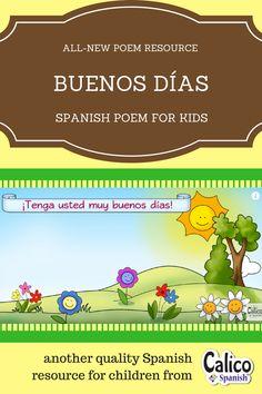 Use this simple greetings poem with children in elementary, preschool, kindgarten, and homeschool Spanish programs to help keep routines in Spanish.