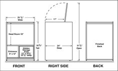 Dimensions Assembled Unit Dimensions:25 1/4 inch Wide, 24 inch Deep, 35 1/4 inch Tall Entrance Door Opening:9 inch Wide, 12 inch Tall Top Lid Opening:23