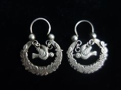Antique Ethnic Mayan Guatemalan Silver Traditional Wedding Earrings by ColeccionLunaVintage