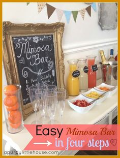 super ideas for brunch party drinks mimosa bar Birthday Brunch, Easter Brunch, Sunday Brunch, Brunch Food, Brunch Menu, 21st Birthday, Party Drinks, Fun Drinks, Mimosa Party