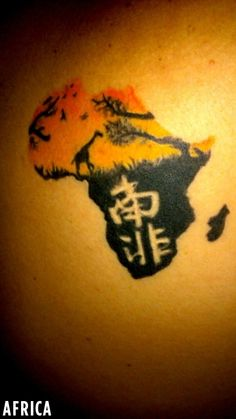 """""""Tattoo of Africa, with """"South Africa"""" written in Chinese (as I live in Asia now)"""" @tattoocrazy"""