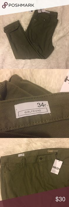 3e0a6fd0e NWT Gap Girlfriend Distressed Jeans 34R New with tags light army green 1969  jeans from Gap