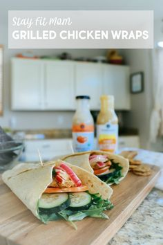 High protein, macro friendly grilled chicken wraps you'll love! Grilled Chicken Wraps, Chicken Wrap Recipes, Clean Recipes, Healthy Recipes, Delicious Recipes, Tasty, Healthy Foods, Clean Eating Snacks, Healthy Eating