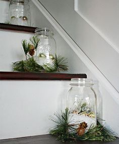 Add these mason jars to your steps to show as an easy holiday decor option.