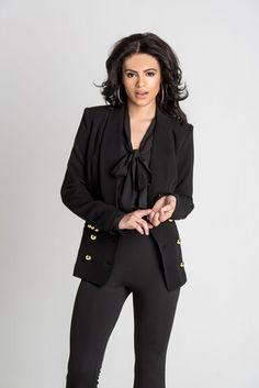 #Jackson black double breasted #blazer with gold buttons