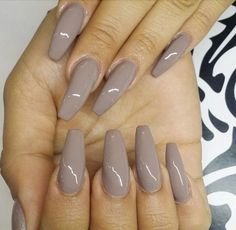 Grey Squoval Acrylic Nails