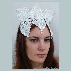1920s headpiece fascinator white lace crown glass drop  AU$69.95
