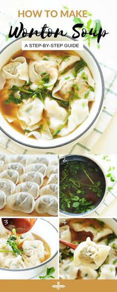 Classic Wonton Soup A step-by-step guide to homemade wonton soup, one of the heartiest Chinese comfort foods. It's also a fantastic, healthy freezer meal for a whole family. How To Make Wontons, Soup Recipes, Dinner Recipes, Family Recipes, Dinner Ideas, Meal Ideas, Free Recipes, Asian Recipes, Healthy Recipes