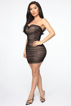 Available In Black And BlueMini Tube Dress Mesh Ruched Stretch Lined Back Zipper V Front Wire Self: Nylon Spandex Lining: Polyester Imported Sexy Dresses, Nice Dresses, Short Dresses, Fashion Dresses, Girl With Curves, Mini Vestidos, Fashion Nova Models, Tube Dress, Dark Fashion