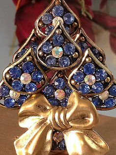 Vintage Rhinestone Christmas Tree Pin :Sapphire & Aurora Borealis  LaHeir