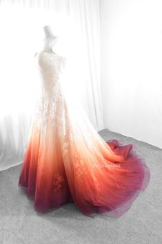 Bridal Gowns Colored by Taylor Ann Art - Gallery Pretty Prom Dresses, Pretty Outfits, Cute Dresses, Colorful Wedding Dresses, Ombre Wedding Dress, Dipped Wedding Dress, Wedding Hijab, Peacock Wedding, Fantasy Dress