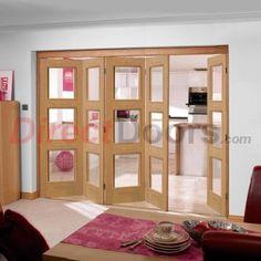 Nuvu Folding Doors, Brienz Oak 5 Door Set with Clear Glass, 2078mm high and 3502mm wide  #foldingdoors