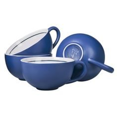 """FEED for Target Oversized Ceramic Mug (set of 4) (Blue, shown; also available in Green or Red) (stoneware; microwave & dishwasher safe; 30.0 oz; 3.13"""" H x 7.5"""" W) """"The number on each FEED USA + Target® product represents how many meals your purchase helps provide to Americans in need. . . . Your purchase of this FEED USA + Target product will provide approximately 16 meals [4 per mug x 4 mugs per set] for children and families across America."""""""