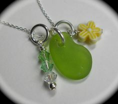 Beach Glass Jewelry  Sea Glass Cluster Necklace  by SeaFindDesigns, $36.00