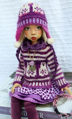 LILAC CREAM PURPLE OWL FASHION OUTFIT FOR MSD MIKI  KAYE WIGGS DOLLS  BY BARBARA
