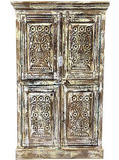 ANTIQUE-DISTRESSED-CABINET-CHEST-CUPBOARD-FLORAL-CARVED-ARMOIRE-INDIA-FURNITURE
