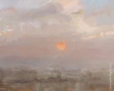 Roos Schuring . Love for the Red Sun . oil landscape painting