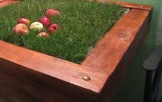modern tables with grass