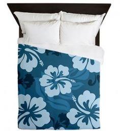 Blue Hibiscus Bedding #tropical #decor