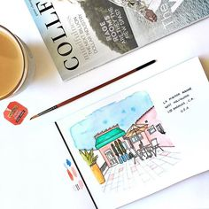#losangeles #hollywood #airbnb #watercolor #architecture buildings #wesanderson marinamuse @marinamusestudio graphic design Watercolor Architecture, Air B And B, Pink Houses, Buildings, Hollywood, In This Moment, Graphic Design, Illustration, Cute