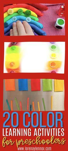 20 Color Learning Activities for Preschoolers #colorlearningactivitiesfortoddlers #colorlearningactivitiesforpreschoolers #colorlearningactivities Toddler Fine Motor Activities, Sensory Activities Toddlers, Parenting Toddlers, Color Activities, Sensory Play, Educational Activities, Learning Activities, Preschool Activities, Play Based Learning