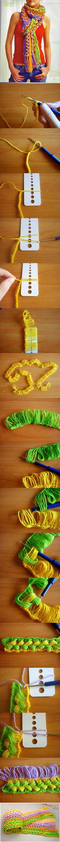 Jednoduchý šál v jarných farbách-návod