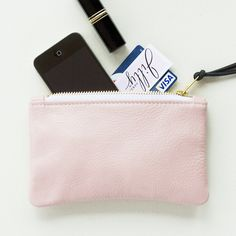 Small Pale Pink Leather Zipper Clutch Zip Pouch от JillyDesigns