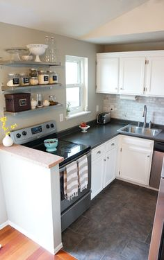 * neat ideas for small kitchen organization, and I like the general look, too!