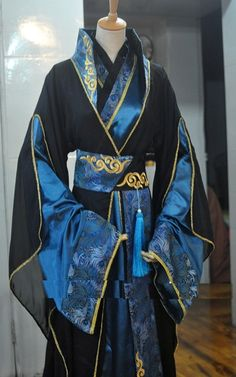 1628 New Black Blue Men's Costume Cosplay Hanfu for Childe or Scholars Male Costume Pretty Outfits, Cool Outfits, Fashion Outfits, Hanfu, Fantasy Dress, Chinese Clothing, Oriental Fashion, Japanese Outfits, Cosplay Outfits
