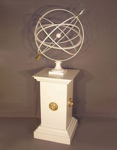 Large Armillary Sphere Garden Art on Square Lion Plinth Pedestal