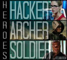 Arrow team - Hacker - Archer - Soldier - Heroes. Arrow CW. Felicity - Oliver - Diggle.