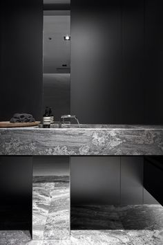 Custom modern marble vanity pedestal and integral sink. #interiordesign #bathrooms #spalife