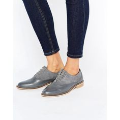 ASOS MAKE IT UP Leather Brogues ($53) ❤ liked on Polyvore featuring shoes, oxfords, grey, gray oxfords, grey oxfords, genuine leather shoes, brogue oxford and gray shoes