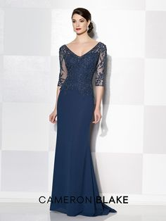 Three-quarter sleeve Italian chiffon slim A-line gown, illusion V-neckline and back, hand-beaded sweetheart bodice, inset sweep train. Sizes 4 – 20 Colors: Navy Blue, Black, Stone