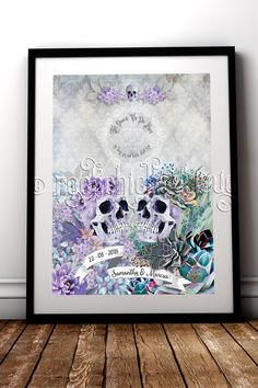 Alternative Brides & Grooms are the coolest, be the envy of the guests when you rock up with this awesome personalised fine art print #RockChicBoutique #AlternativeWeddings #AlternativeHomeDecor #Skulls #WallArt