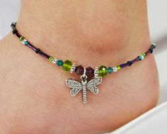 Anklet, Ankle Bracelet, Dragonfly Charm, Purple, Teal Blue, Peridot Green…