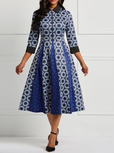 Geometry Print Skater Dress