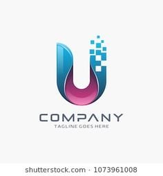 Letter U logo. Digital, technology, pixel logo design.
