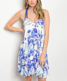 Look at this #zulilyfind! Royal Blue & Off-White Floral Cage-Back A-Line Dress #zulilyfinds
