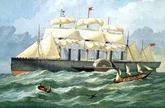 One Victorian Engineer Designed Three Steamships That Changed the World: The Great Eastern, Isambard Kingdom Brunel& Massive Steamship Isambard Kingdom Brunel, Merchant Marine, Water Art, Ship Art, Tall Ships, Sailing Ships, Painting, Steam Boats, Steamers