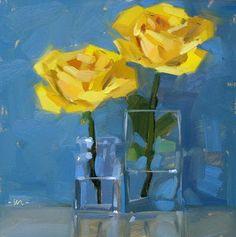 Carol Marine's Painting a Day: Rising Roses