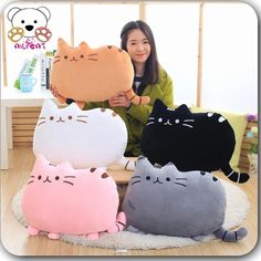 Pusheen Cat Plush Toys Stuffed Plush Dolls Peluches Grandes Girls Gifts Birthday Stuffed Cat Pillows With Cushion Cute Cushions, Animal Cushions, Baby Pillows, Kids Pillows, Throw Pillows, Gato Pusheen, Pusheen Toys, Pusheen Cat Plush, Doll Home