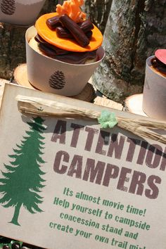 Camping Party Printables Set for your Happy Campers by Amanda's Parties TO GO (movie outside, make your own trail mix, nature scavenger hunt)
